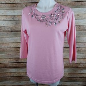 Quacker Factory pink rhinestone embellished top XS